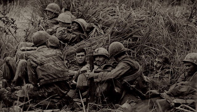 Marines hunkered down in Vietnam