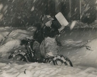 Delivering newspapers in snow