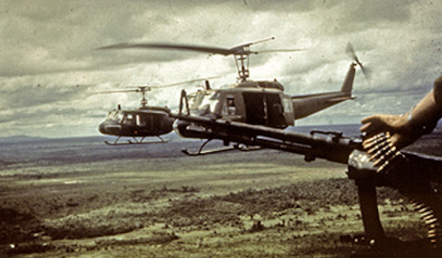 Huey Helicopters In Flight During Vietnam War