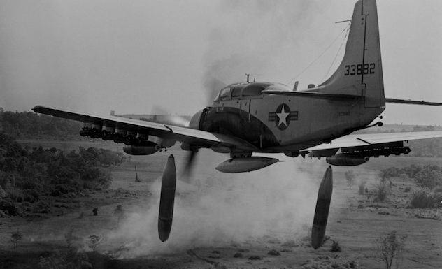 Skyraider Dropping Bombs Vietnam