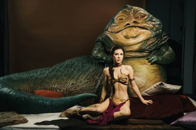 Carrie Fisher as Princess Leia with Jabba the Hut